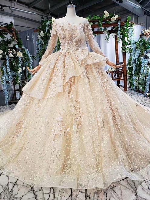 Fashion Champagne Ball Gown Tulle Sequins Long Sleeve Appliques Wedding Dress