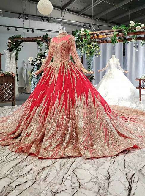Red Ball Gown Tulle Sequins Long Sleeve High Neck Wedding Dress