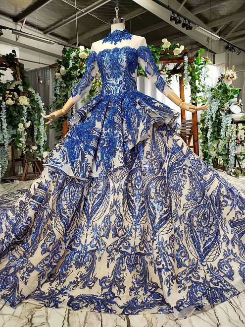 Fashionable Blue Ball Gown Sequins High Neck Long Sleeve Beading Wedding Dress