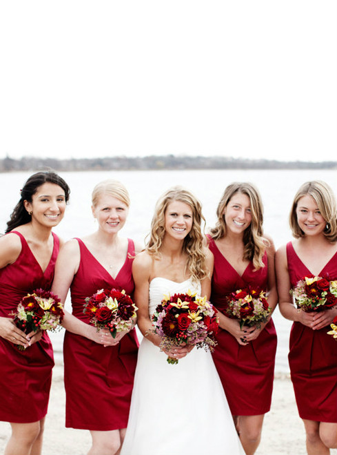 Modest V-neck Satin Bridesmaid Dresses with Soft Pleats Short Burgundy Bridesmaid Dresses