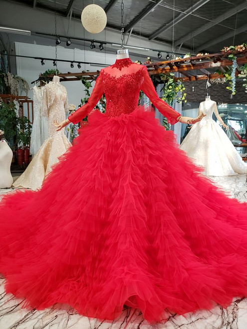 Red Ball Gown Tulle Long Sleeve High Neck Beading Wedding Dress