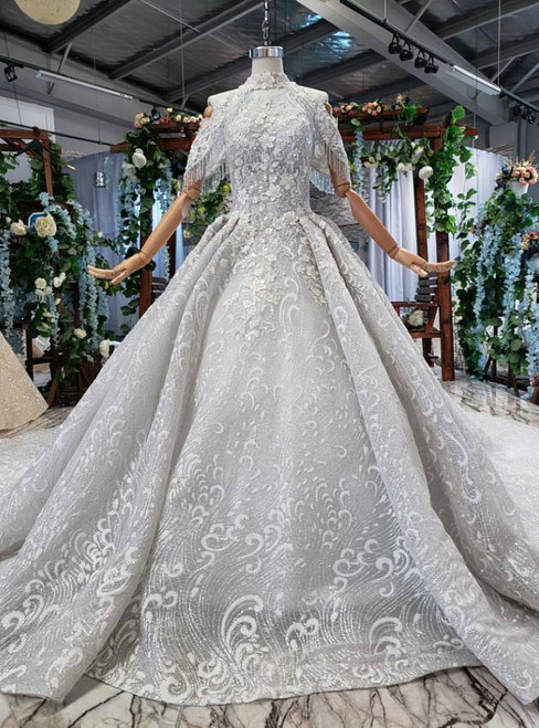 Silver Gray Ball Gown Tulle Sequins Appliques Backless Wedding Dress