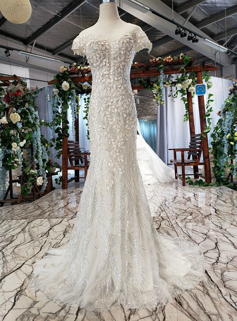 Champagne Mermaid Tulle Sequins Appliques Backless Wedding Dress