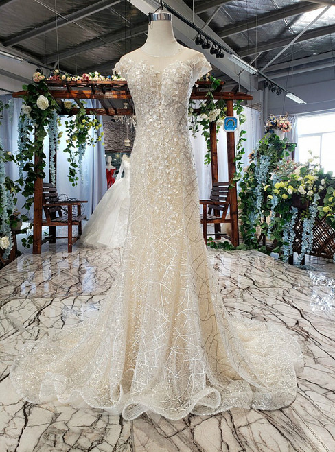 Champagne Tulle Sequins Mermaid Backless Appliques Beading Wedding Dress