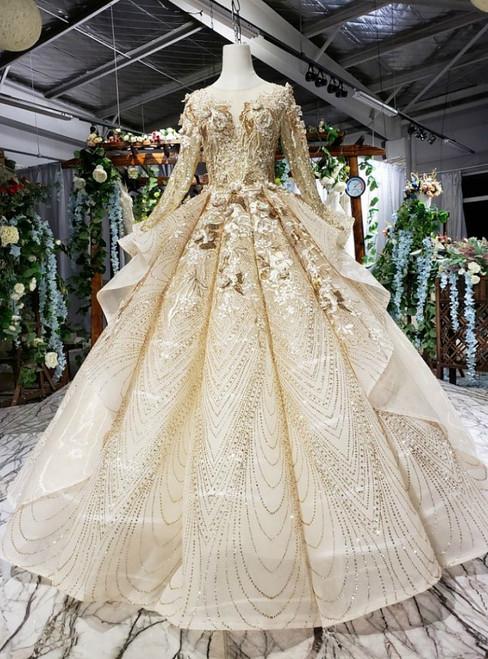 Champagne Gold Sequins Long Sleeve Appliques Floor Length Wedding Dress