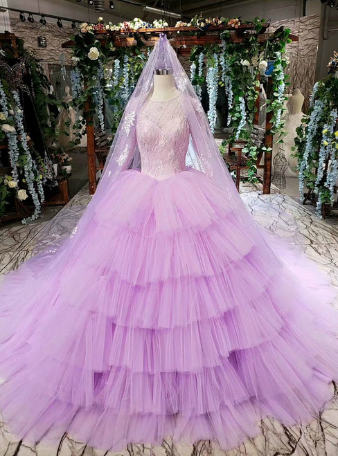 Purple Ball Gown Tulle Beading Long Sleeve Wedding Dress