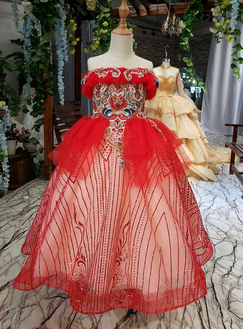 A-Line Red Tulle Sequins Strapless Appliques Flower Girl Dress