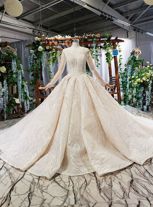 Champagne Ball Gown Sequins Long Sleeve Beading Wedding Dress