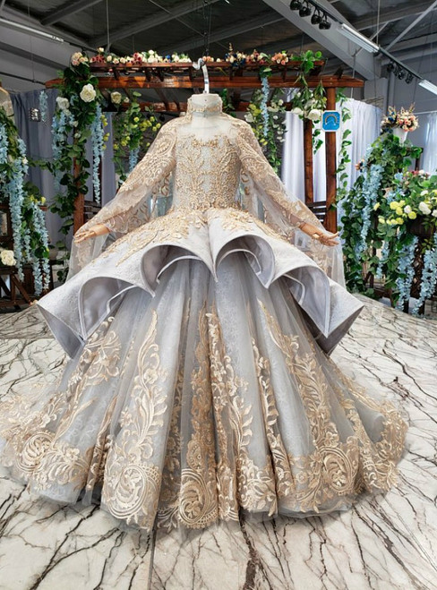 Gray Ball Gown Tulle Gold Lace Appliques Flower Girl Dress With Shawl