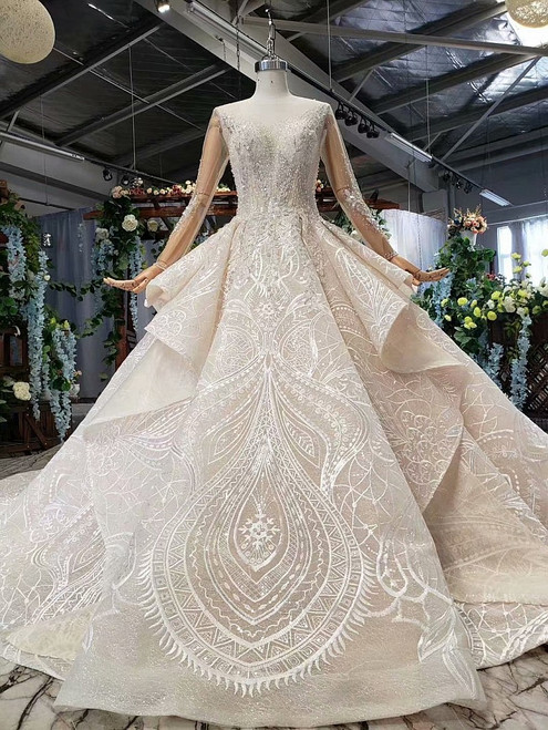Champagne Ball Gown Tulle Lace Long Sleeve Backless Wedding Dress With Beading
