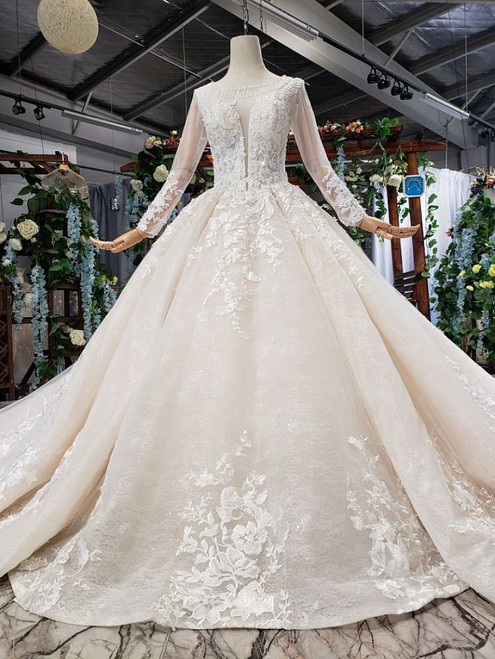 Fabulous Champagne Ball Gown Tulle Appliues Long Sleeve Beading Wedding Dress