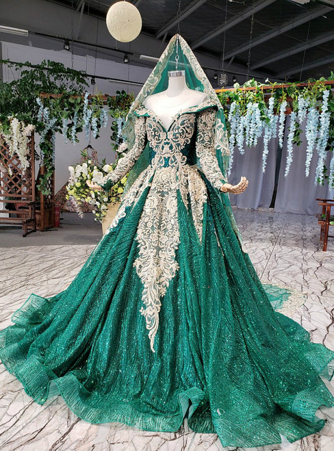 Green Ball Gown Sequins Lace Appliques Off the Shoulder Wedding Dress
