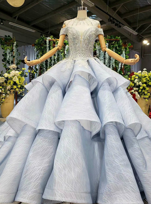 Blue Ball Gown Tulle Sequins Off the Shoulder Beading Wedding Dress