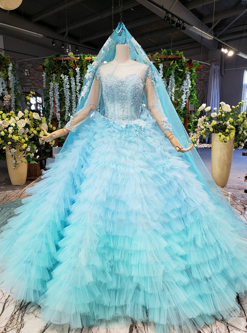 Sky Blue Ball Gown Tulle Long Sleeve Beading Wedding Dress