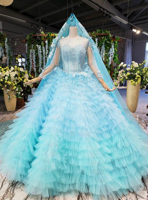 Sky Blue Ball Gown Tulle Long Sleeve Beading Wedding Dress