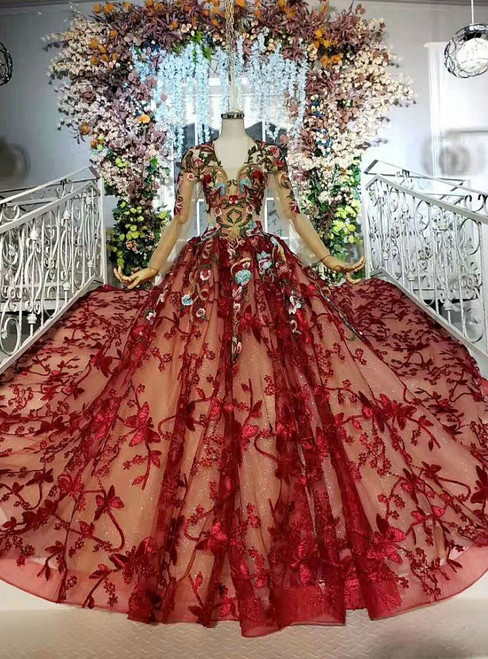 Dark Red Tulle Lace Embroidery V-neck Long Sleeve Wedding Dress