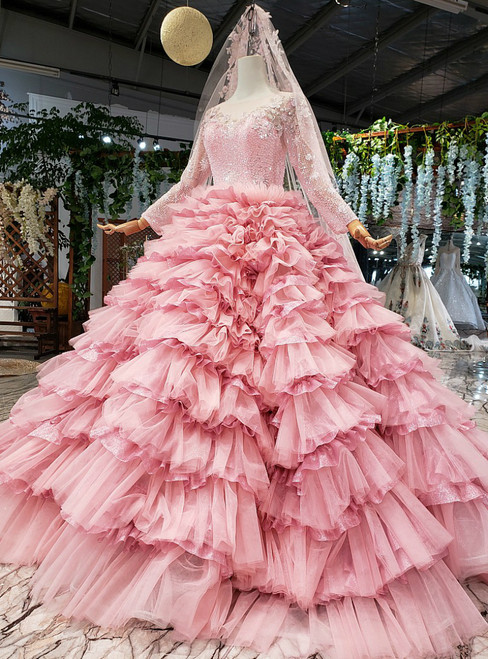 Pink Ball Gown Tulle Long Sleeve Appliques Beading Wedding Dress
