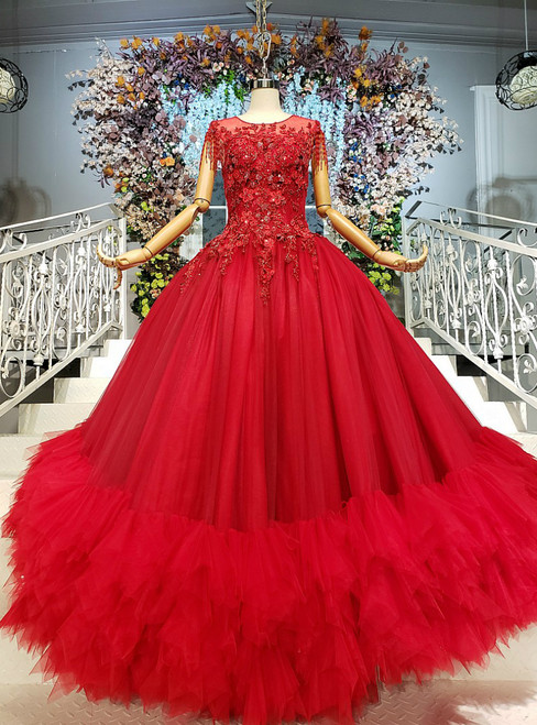 Red Ball Gown Tulle Backless Appliques Wedding Dress With Beading