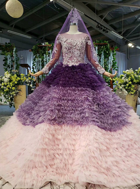 Purple And Pink Tulle Long Sleeve Appliques Beading Wedding Dress