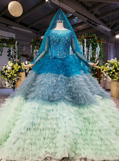 Adorable Blue and Green Ball Gown Tulle Long Sleeve Beading Wedding Dress