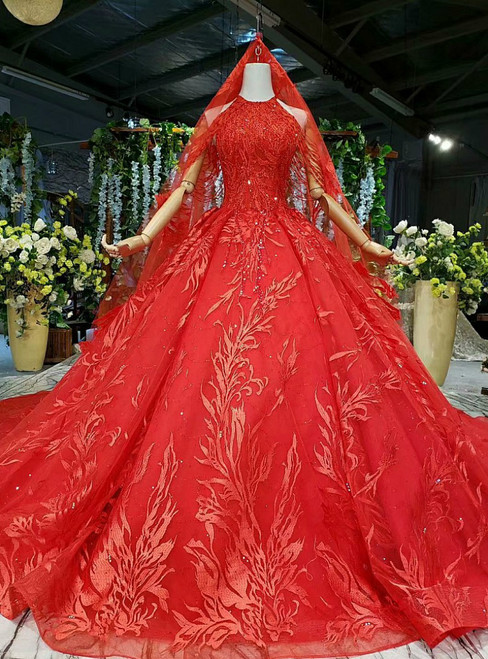 Red Ball Gown Tulle Appliques Halter Beading Sequins Wedding Dress With Long Train