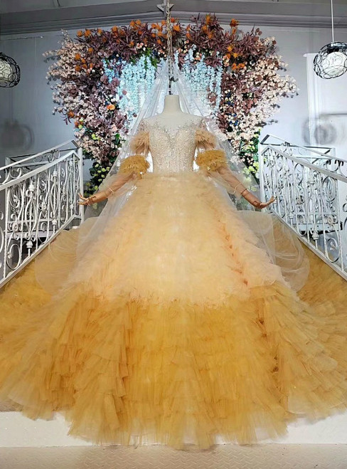 Yellow Ball Gown Tulle Long Sleeve Open Back Wedding Dress With Beading