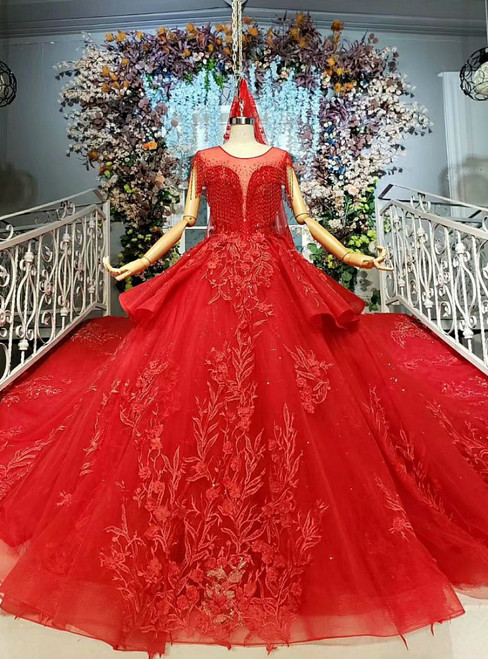 Wonderful Red Tulle Appliques Backless Beading Wedding Dress With Train