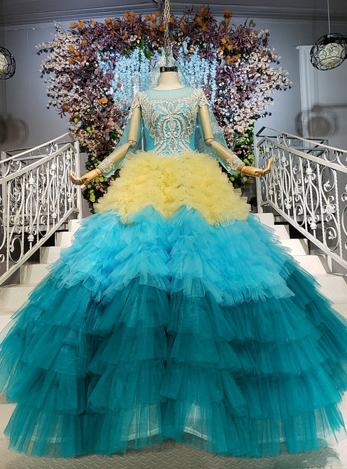 Blue and Yellow Tulle Long Sleeve Floor Length Wedding Dress