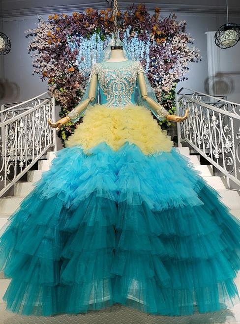 Blue and Yellow Tulle Long Sleeve Floor Length Wedding Dress