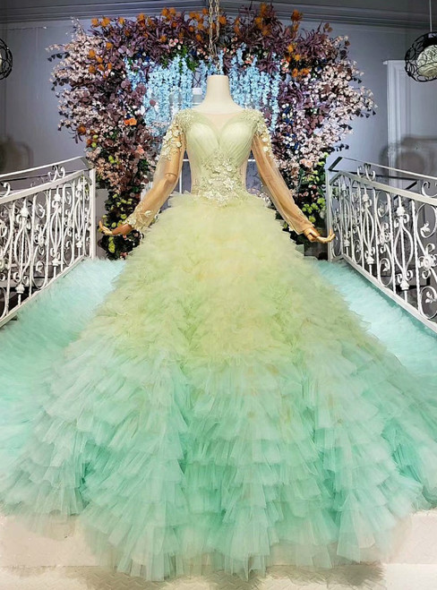 Light Green Ball Gown Tulle Long Sleeve Pleats Appliques Wedding Dress