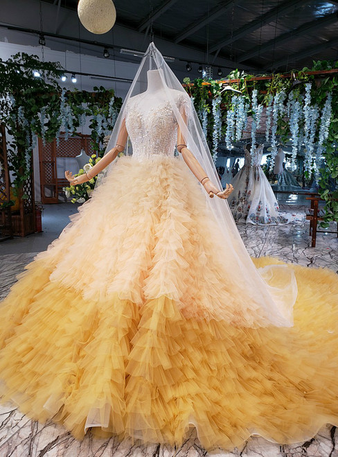 Brilliant Yellow Ball Gown Tulle Cap Sleeve Backless Beading Wedding Dress