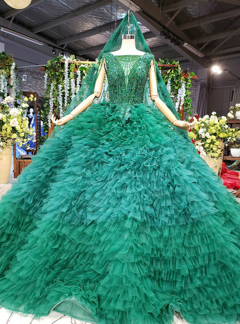 Green Ball Gown Tulle Square Lace Appliques Wedding Dress With Beading