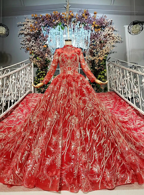 Red Ball Gown Tulle Sequins Embroidery Long Sleeve Wedding Dress With Beading