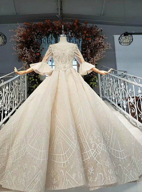 Champagne Ball Gown Tulle Sequins Short Sleeve Beading Wedding Dress