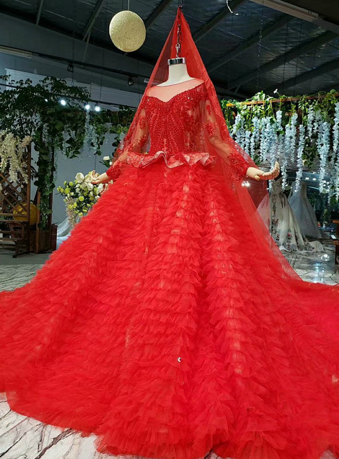 Queenly Red Ball Gown Tulle Long Sleeve Beading Wedding Dress
