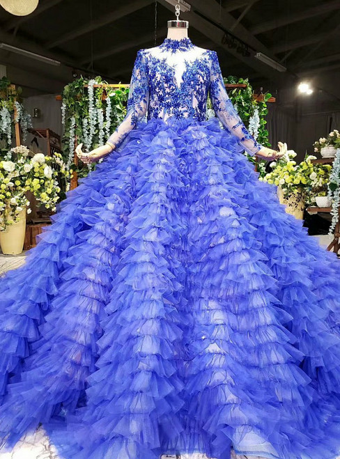 Blue Ball Gown Tulle High Neck Long Sleeve Beading Wedding Dress With Long Train