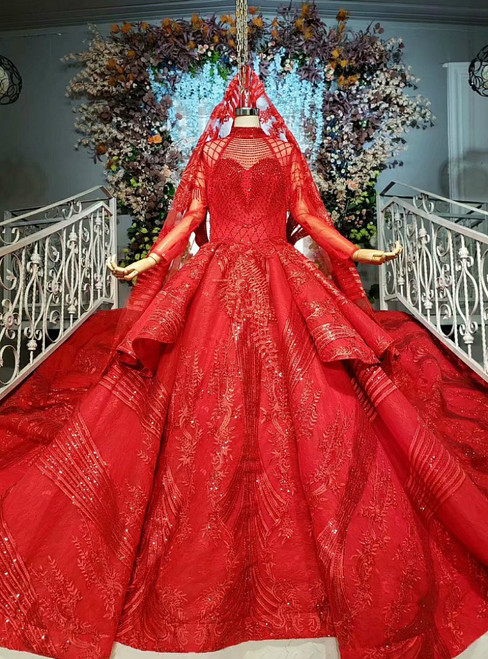 Red Ball Gown Tulle Sequins Appliques High Neck Long Sleeve Wedding Dress
