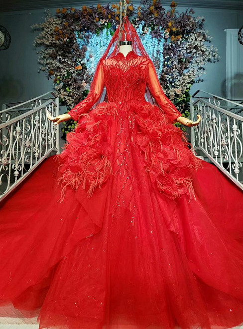 Red Ball Gown Tulle Sequins High Neck Long Sleeve Wedding Dress
