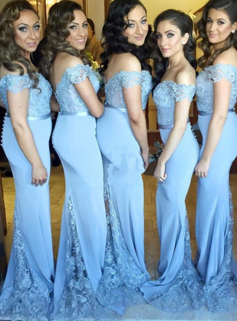 Blue Mermaid Satin Off the Shoulder Lace Appliques Bridesmaid Dress