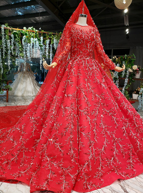 Red Ball Gown Tulle Hand Made Beading Long Sleeve Wedding Dress With Long Train