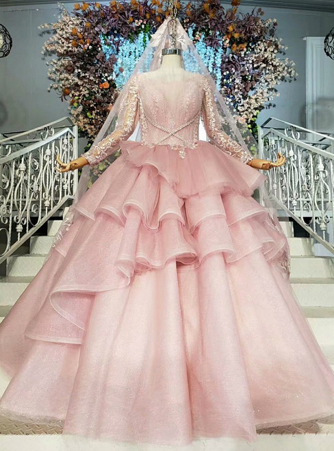 Princess Pink Ball Gown Tulle Long Sleeve Appliques Pleats Wedding Dress