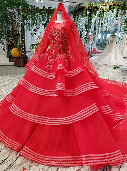 Distinctive Red Ball Gown Tulle Appliques Long Sleeve Beading Wedding Dress