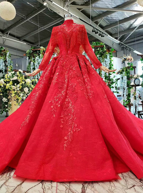 Fantastic Red Ball Gown Tulle Appliques High Neck Wedding Dress With Beading