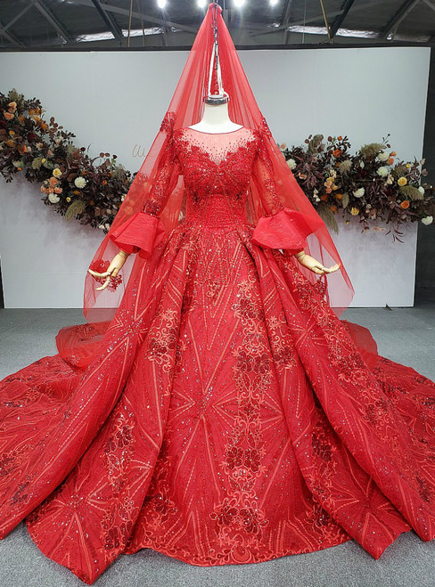 Flattering Red Ball Gown Sequins Appliques Long Sleeve Beading Wedding Dresss
