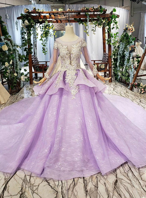 Glittering Purple Ball Gown Tulle Long Sleeve Appliques Beading Wedding Dress