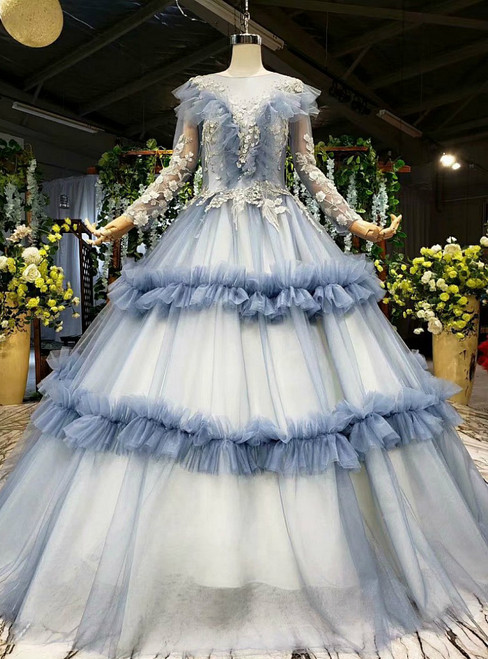 Polished Blue Ball Gown Tulle Long Sleeve Appliques Floor Length Wedding Dress