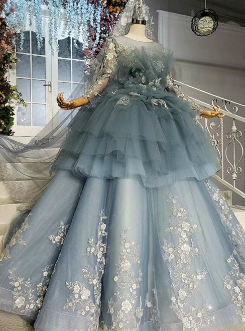 Temperament Blue Ball Gown Tulle Appliques Long Sleeve Wedding Dress