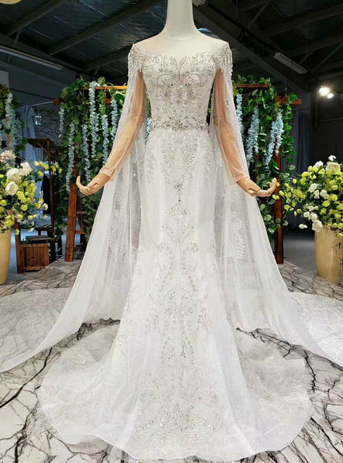 High quality White Mermaid Sequins Long Sleeve Backless Wedding Dress