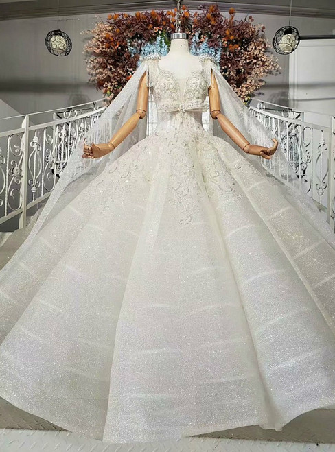 New arrivals White Ball Gown Sequins Square Neck Beading Crystal Wedding Dress