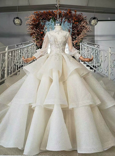 Champagne Ball Gown Sequins High Neck Long Sleeve Backless Wedding Dress